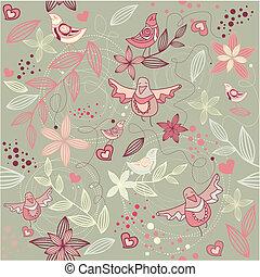 floral, papier peint, seamless, romantique