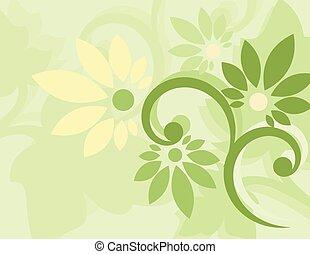 floral, papier peint, vert, seamless
