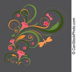 floral, papillon, éléments