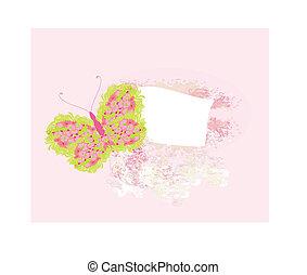 floral, papillon, cadre