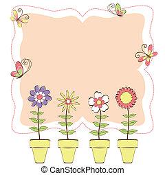 floral, papillon, coloré