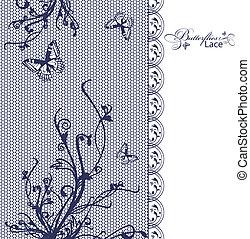floral, papillons, dentelle, cadre