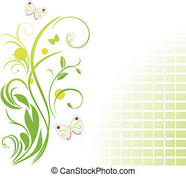 floral, papillons, ornement