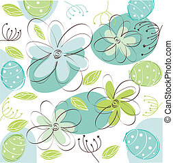 floral, paques, carte