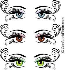floral, paquet, yeux
