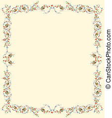 floral frame ready for text; design inspired by retro decoration