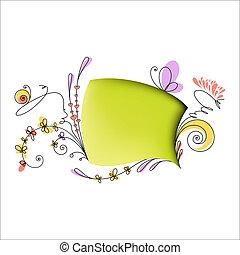 floral, parole, éléments, bulle