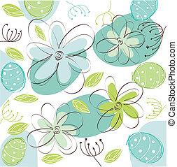 floral, pascua, tarjeta