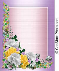floral, pasen, grens, rozen