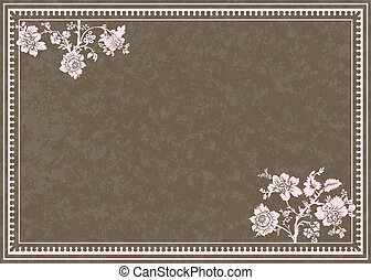floral, pastel, frame, vector, achtergrond