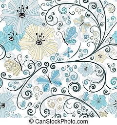 floral, pastel, seamless, model