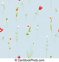 Floral pastel seamless pattern with small flowers and tulips...