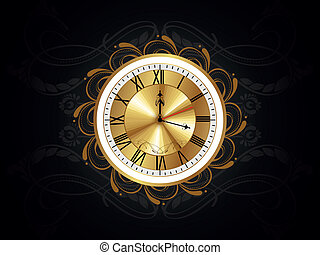 floral pattern background with isolated watch