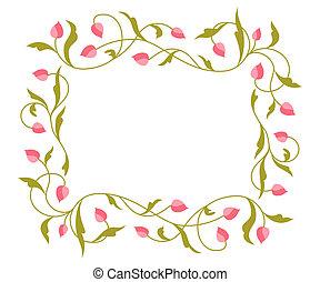 floral, pattern., begroetenen, kaart