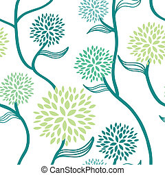 Seamless floral pattern in blue and green on white