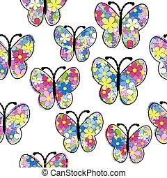 Floral pattern butterfly seamless pattern