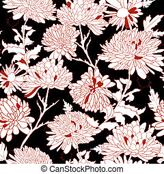 floral, pattern., chrysanthemum., plano de fondo