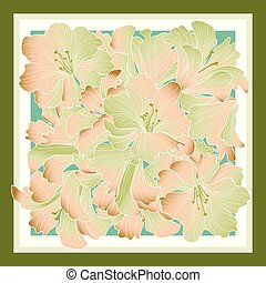 Floral pattern decor for silk tiussiue. Delicate color flower decor for square shape scarf. Batic technique flowering background