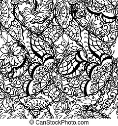 Floral Pattern - Seamless Contour Floral Pattern. Vector...