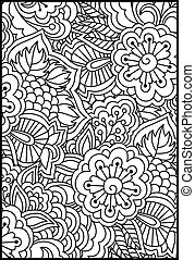 Floral pattern for coloring book.
