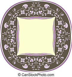 Floral pattern frame. Round