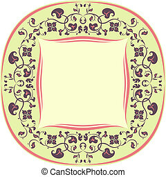 Floral pattern frame. Round. Yellow