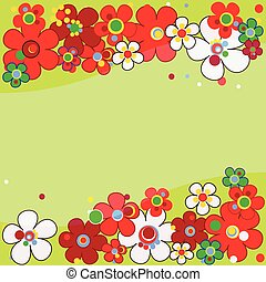 Floral pattern in green tones with red flowers