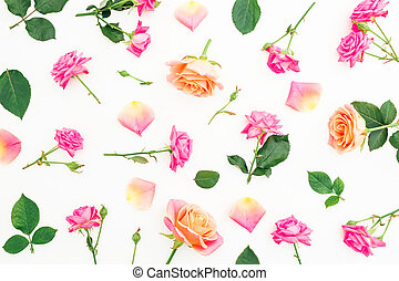 Floral pattern made of pink roses flowers and roses petals on white background. Valentines day. Flat lay, top view.