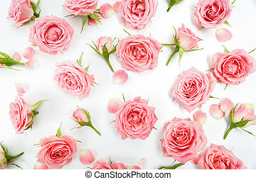 Floral pattern made of pink roses, green leaves, branches on white background. Flat lay, top view. Floral pattern.