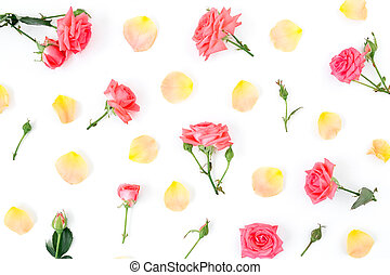 Floral pattern made of roses flowers and petals on white background. Flat lay, top view.