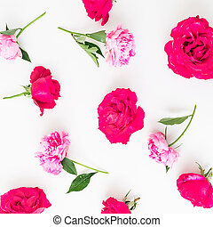 Floral pattern of pink roses and peonies on white background. Flat lay, Top view. Flowers texture.