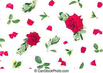 Floral pattern of red roses flowers and green leaves on white background. Flat lay