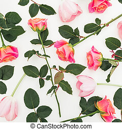 Floral pattern of roses flowers isolated on white background. Valentines day composition. Flat lay, top view.