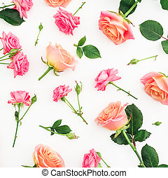 Floral pattern of roses flowers isolated on white background. Valentines day. Flat lay, top view.
