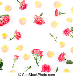 Floral pattern of roses flowers on white background. Copy space. Flat lay, top view.