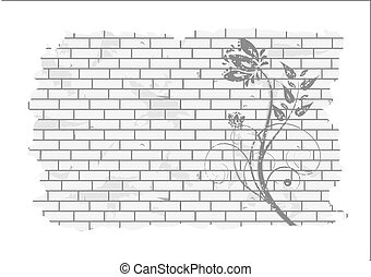 Floral pattern on a brick wall