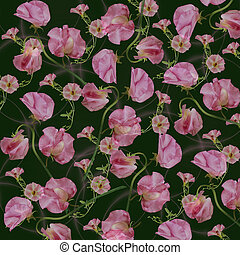 Floral pattern on a green background