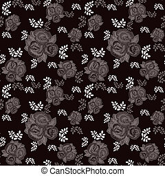 Floral pattern on black background