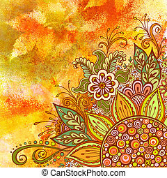 Floral Pattern on Watercolor Painting - Floral Pattern,...