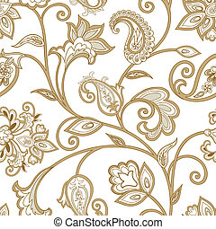 Floral pattern. Seamless oriental arabesque background. Tiled ornament with fantastic wonderland flowers in arabic damask style.