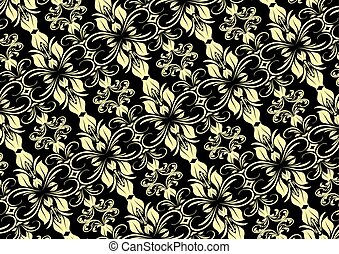 Floral Pattern Set 1 - Cream seamless floral pattern on...