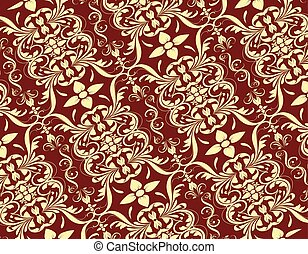Floral Pattern Set 2 - Cream seamless floral pattern on red...