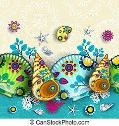 Floral pattern shells - Banner floral seamless pattern and ...