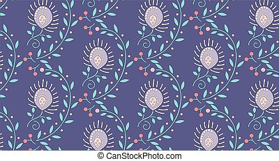 floral pattern summer print pink green leaves on lilac background