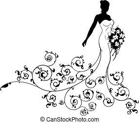 Floral Pattern Wedding Bride Silhouette