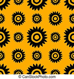 Floral pattern with abstract daisy. Hand drawn summer flower. Black yellow design. Seamless repeat background.
