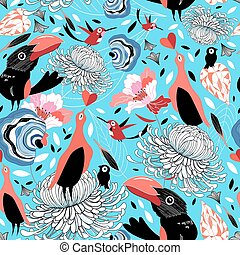 floral pattern with birds