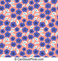 Floral pattern with blue flowers on a pink background