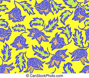 Floral pattern with bright colorful blue flowers