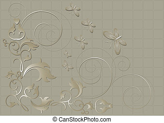 Floral pattern with butterflies and